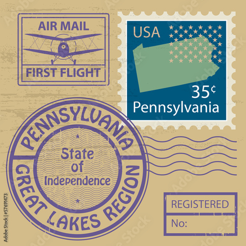 Grunge rubber stamp set with name of Pennsylvania, vector