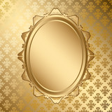 oval golden frame on gold pattern - vector