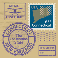 Grunge rubber stamp with name of Connecticut, vector