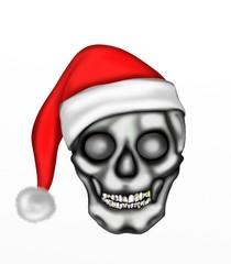teschio con cappello natalizio