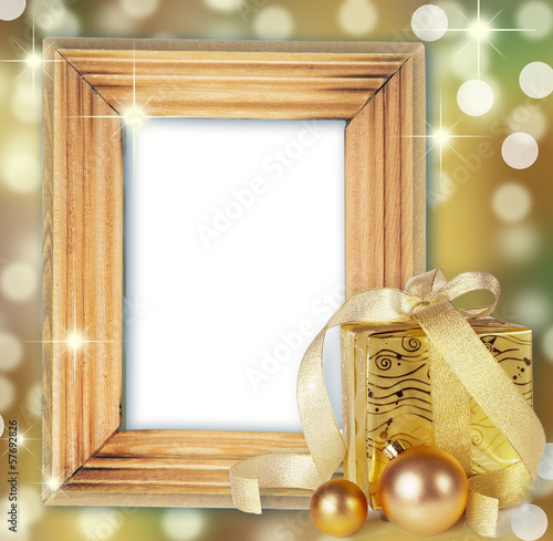gifts box with Christmas balls isolated on white