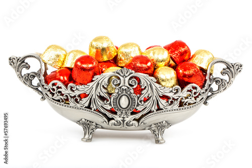chocolates in a silver plate
