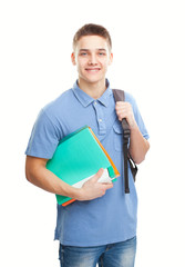 happy smiling student with his notebook and backpack