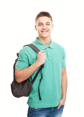 happy smiling student with backpack