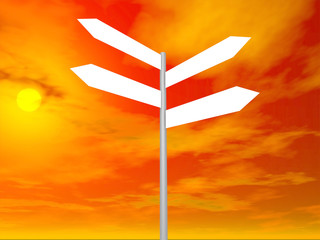 Signpost on beautiful background of sky. 3D render.