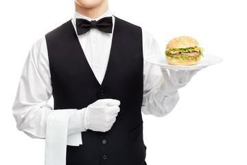 Waiter torso with hamburger on plate