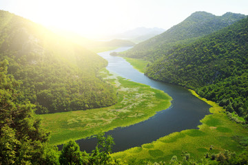 Amazing view of Rijeka Crnojevica. Skadar lake national park