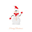 Postcard Snowman on white background