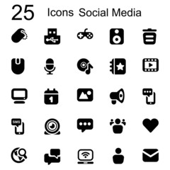 25 basic iconset social media