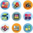 Geometric flat templates icon set