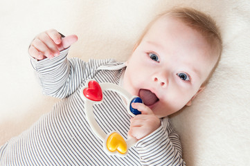 Happy six months old baby boy playing with a rattle