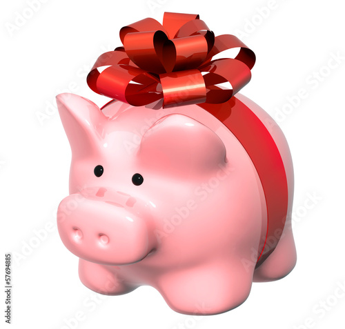 Piggy bank with bow