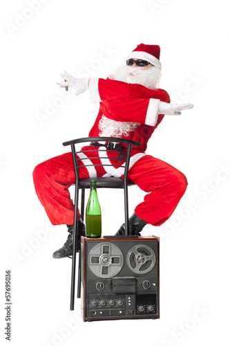 Santa Claus having fun at party