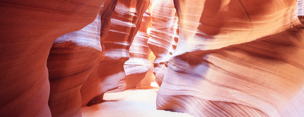 Panoramic view in the famous Antelope Canyon