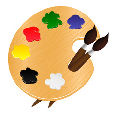 Wooden palette with paints and brushes - vector illustration