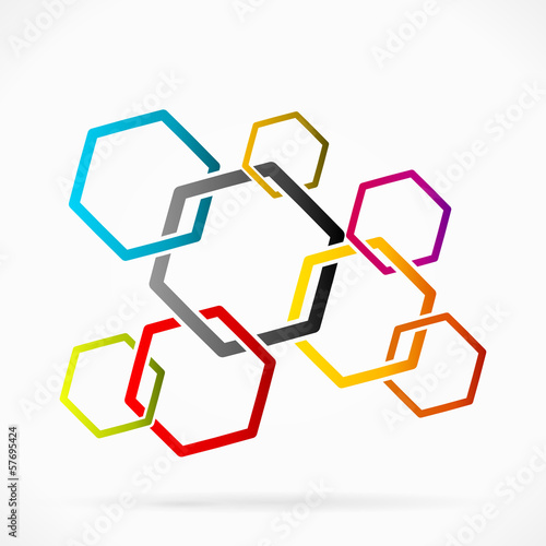 Abstract network grid made out of colored pentagons