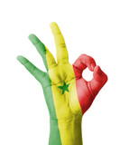 Hand making Ok sign, Senegal flag painted