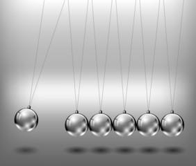 Newtons cradle metal balls