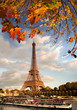 Famous Arc de Triomphe in autumn, Paris, France