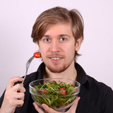 man with fresh salad
