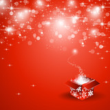 Gift on red christmas background