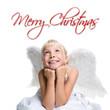 kleiner Engel mit Merry Christmas Schriftzug