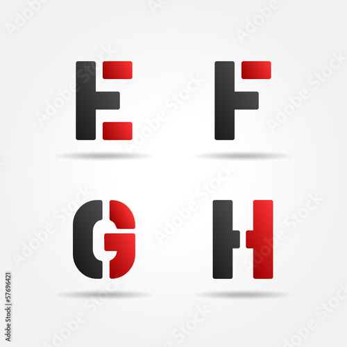 efgh red stencil letters