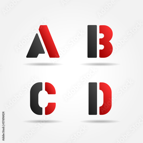 abcd red stencil letters