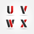 uvwx red stencil letters