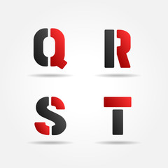 qrst red stencil letters