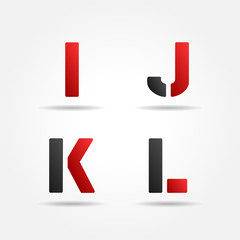 ijkl red stencil letters