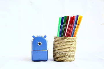 A sharpener and magic pens
