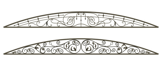 Wrought iron canopy isolated on white background