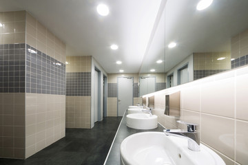 Modern clean toilet decorated with tiles