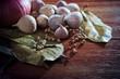 eastern food style dryasia spice herb on wood table