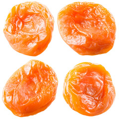 Dried apricots. Collection of fruits isolated on white.