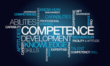 Competence development skills word tag cloud illustration