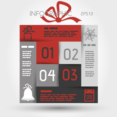 red and grey christmas infographic square with icons
