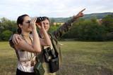Birdwatching with binoculars poster