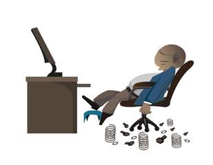 businessman get tried to work