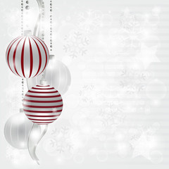 Silver christmas composition with space for text