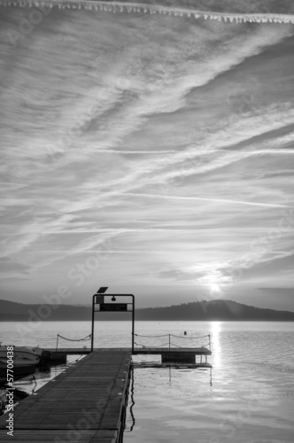 Viverone lake autumnal view B&W image