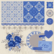 Scrapbook Design Elements - Vintage Porcelain and Flower Set