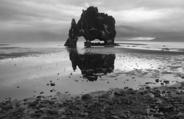 Iceland. Vatnsnes Peninsula. Hvitserkur rock monolith.