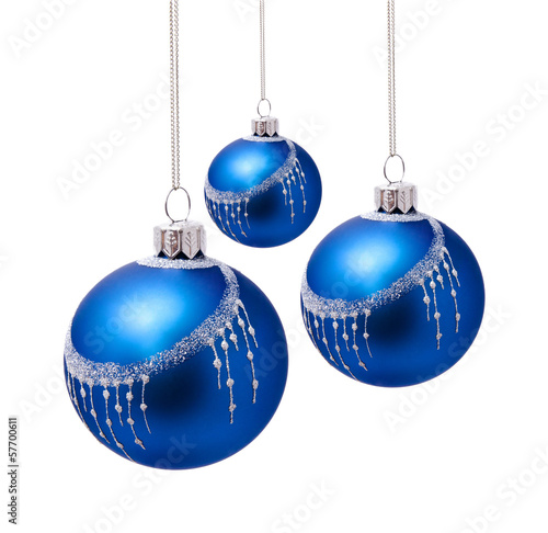 Perfect blue christmas balls isolated on white