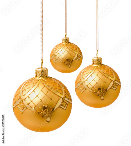 Perfect golden christmas balls isolated on white