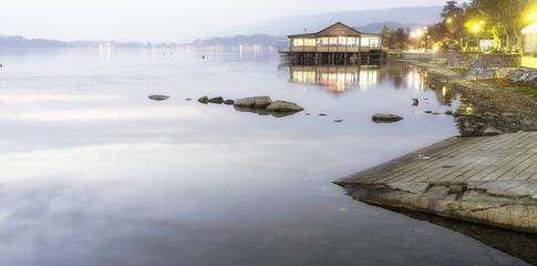 Viverone lake autumnal view color image