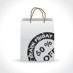 Black friday shopping bag with grunge stamp