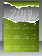 Ripped calendar design for year 2014