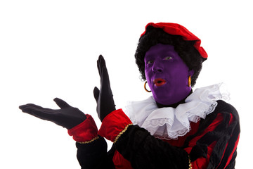 Purple piet ( black pete) jest on typical Dutch character
